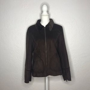 Charter Club Brown Faux Suede and Fur Cozy Jacket